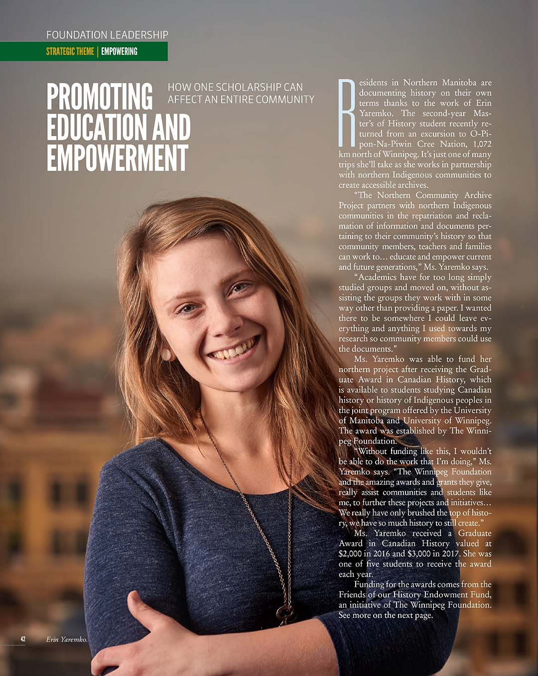 Portrait for the Winnipeg Foundation magazine Working Together